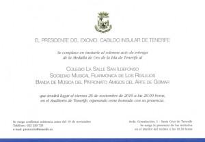 Invitación para la entrega de la Medalla de Oro de la Isla en el Auditorio de Tenerife