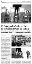 """Diario de Avisos - Sábado 27 de noviembre de 2010 - Página 4 - """"El Colegio La Salle recibe la Medalla de Oro de la Isla"""""""
