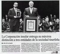 """El Día - Sábado 27 de noviembre de 2010 - """"La Corporación insular entrega su máxima distinción a tres entidades de la sociedad tinerfeña"""""""