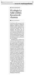 """Diario de avisos - Viernes 21 de enero de 2011 - Página 7 """"CENTENARIO: El colegio La Salle celebra los actos de clausura"""""""