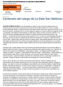 """La Opinión de Tenerife - laopinion.es - Miércoles 26 de enero de 2011 """"Centenario del colegio de La Salle San Ildefonso"""
